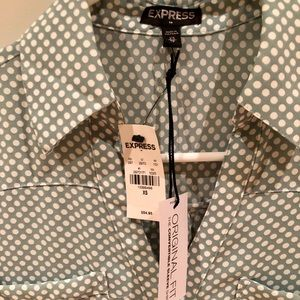 NWT Express XS button up blouse sage green